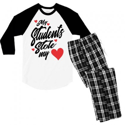 My Students Stole My Heart Teacher Valentines Day Gift Men's 3/4 Sleeve Pajama Set Designed By Cidolopez