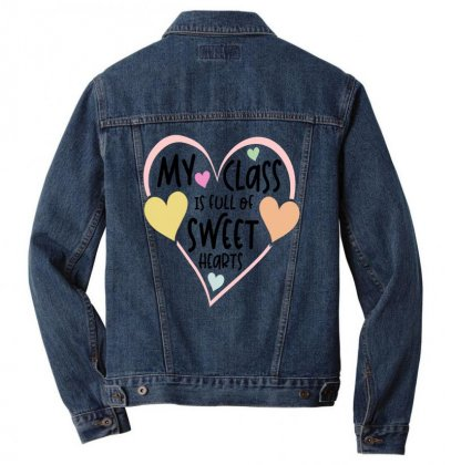 Teacher And Students Valentines Day Class Sweetheart Men Denim Jacket Designed By Cidolopez