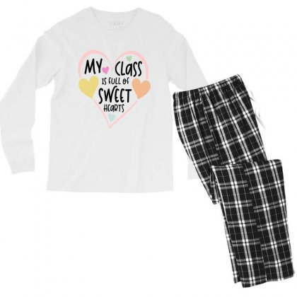 Teacher And Students Valentines Day Class Sweetheart Men's Long Sleeve Pajama Set Designed By Cidolopez