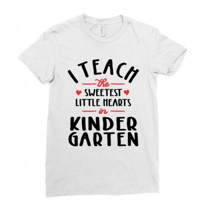 I Teach The Sweetest Little Hearts Valentines Day Teacher Ladies Fitted T-shirt Designed By Cidolopez