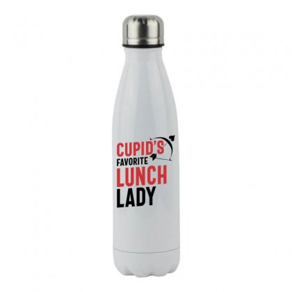 Cupid's Favorite Lunch Lady Valentine's Day Gift Stainless Steel Water Bottle Designed By Cidolopez