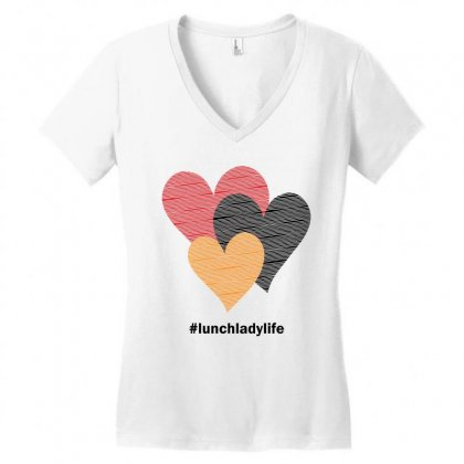 Hearts On Stripes Printed Lunch Lady Valentine Women's V-neck T-shirt Designed By Cidolopez