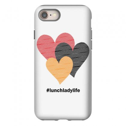 Hearts On Stripes Printed Lunch Lady Valentine Iphone 8 Case Designed By Cidolopez