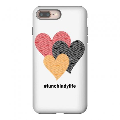 Hearts On Stripes Printed Lunch Lady Valentine Iphone 8 Plus Case Designed By Cidolopez