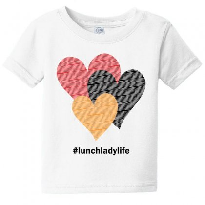 Hearts On Stripes Printed Lunch Lady Valentine Baby Tee Designed By Cidolopez