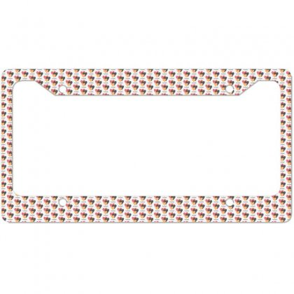 Hearts On Stripes Printed Lunch Lady Valentine License Plate Frame Designed By Cidolopez