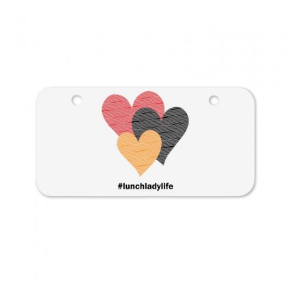 Hearts On Stripes Printed Lunch Lady Valentine Bicycle License Plate Designed By Cidolopez
