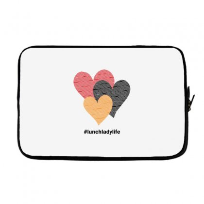 Hearts On Stripes Printed Lunch Lady Valentine Laptop Sleeve Designed By Cidolopez