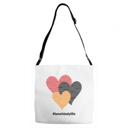 Hearts On Stripes Printed Lunch Lady Valentine Adjustable Strap Totes Designed By Cidolopez