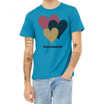 Hearts On Stripes Printed Lunch Lady Valentine Heather T-shirt Designed By Cidolopez