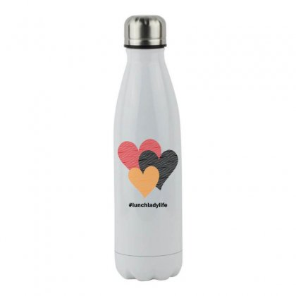 Hearts On Stripes Printed Lunch Lady Valentine Stainless Steel Water Bottle Designed By Cidolopez