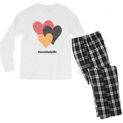 Hearts On Stripes Printed Lunch Lady Valentine Men's Long Sleeve Pajama Set Designed By Cidolopez