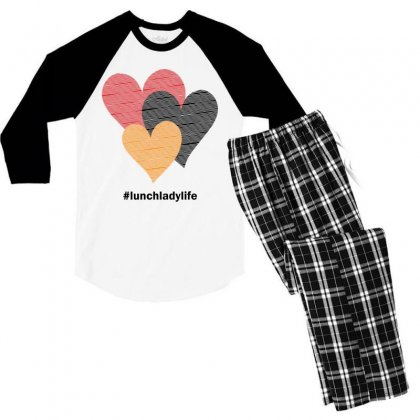 Hearts On Stripes Printed Lunch Lady Valentine Men's 3/4 Sleeve Pajama Set Designed By Cidolopez