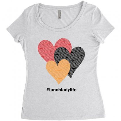 Hearts On Stripes Printed Lunch Lady Valentine Women's Triblend Scoop T-shirt Designed By Cidolopez