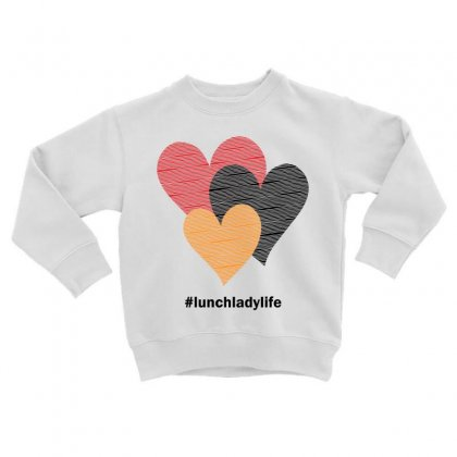 Hearts On Stripes Printed Lunch Lady Valentine Toddler Sweatshirt Designed By Cidolopez