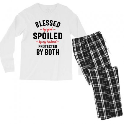 Womens Blessed By God Spoiled By My Husband Protected By Both Men's Long Sleeve Pajama Set Designed By Cidolopez