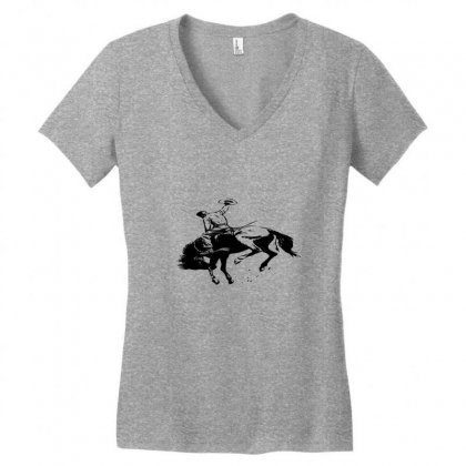 Cowboy Action Taming The Horse Women's V-neck T-shirt Designed By Acoy