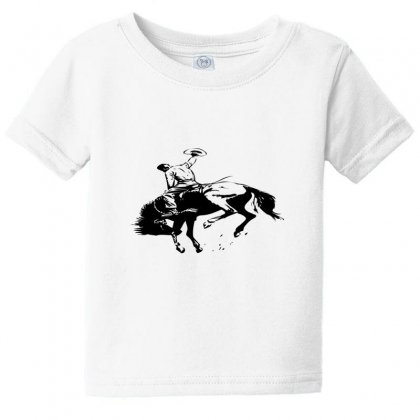Cowboy Action Taming The Horse Baby Tee Designed By Acoy