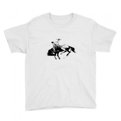Cowboy Action Taming The Horse Youth Tee Designed By Acoy