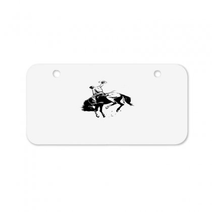 Cowboy Action Taming The Horse Bicycle License Plate Designed By Acoy
