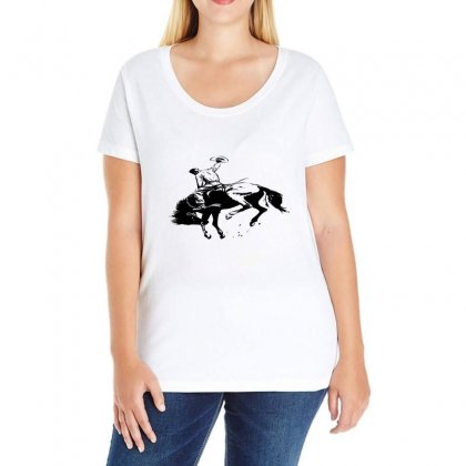 Cowboy Action Taming The Horse Ladies Curvy T-shirt Designed By Acoy