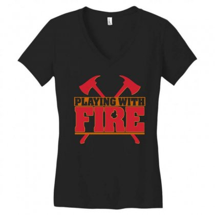 Playing With Fire Movie Logo Women's V-neck T-shirt Designed By Cahayadianirawan