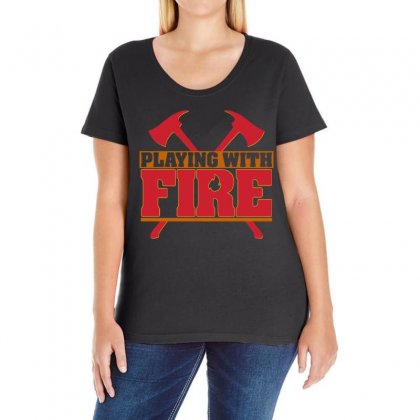 Playing With Fire Movie Logo Ladies Curvy T-shirt Designed By Cahayadianirawan