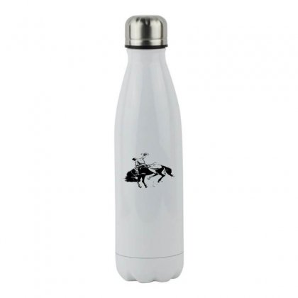 Cowboy Action Taming The Horse Stainless Steel Water Bottle Designed By Acoy