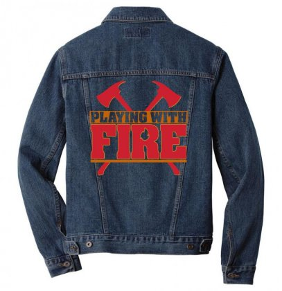 Playing With Fire Movie Logo Men Denim Jacket Designed By Cahayadianirawan
