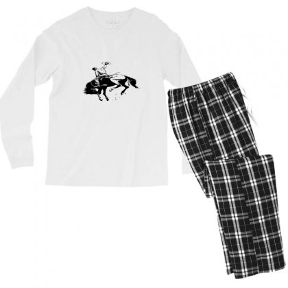 Cowboy Action Taming The Horse Men's Long Sleeve Pajama Set Designed By Acoy