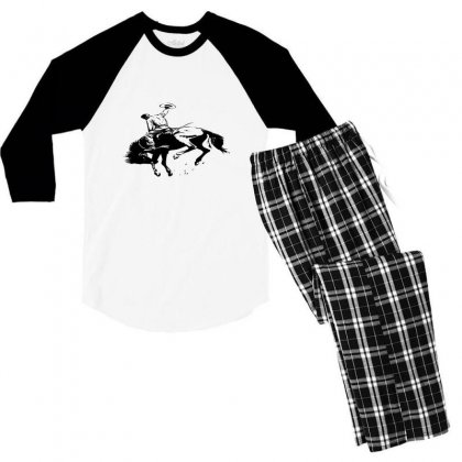 Cowboy Action Taming The Horse Men's 3/4 Sleeve Pajama Set Designed By Acoy