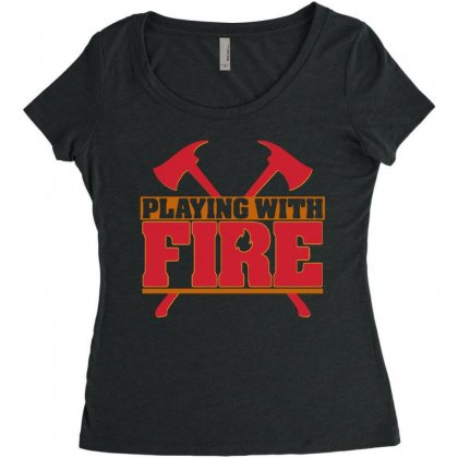 Playing With Fire Movie Logo Women's Triblend Scoop T-shirt Designed By Cahayadianirawan