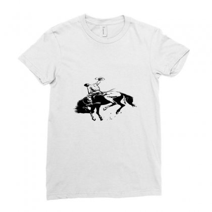 Cowboy Action Taming The Horse Ladies Fitted T-shirt Designed By Acoy