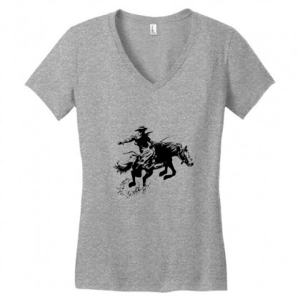 Cowboy Action Women's V-neck T-shirt Designed By Acoy