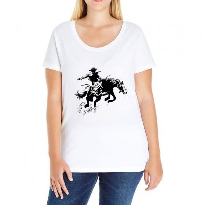 Cowboy Action Ladies Curvy T-shirt Designed By Acoy