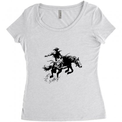 Cowboy Action Women's Triblend Scoop T-shirt Designed By Acoy