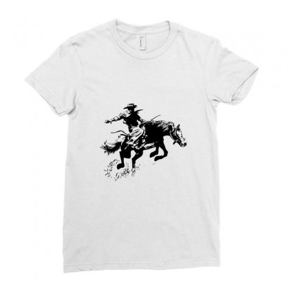 Cowboy Action Ladies Fitted T-shirt Designed By Acoy
