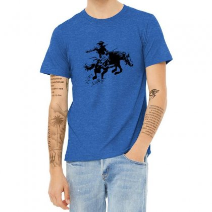 Cowboy Action Heather T-shirt Designed By Acoy