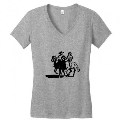 Cowboy Couple Women's V-neck T-shirt Designed By Acoy