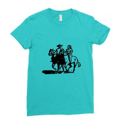 Cowboy Couple Ladies Fitted T-shirt Designed By Acoy