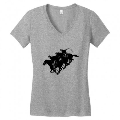 Cowboy Horse Racing Women's V-neck T-shirt Designed By Acoy