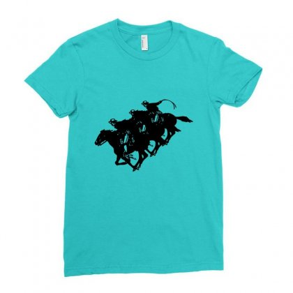 Cowboy Horse Racing Ladies Fitted T-shirt Designed By Acoy