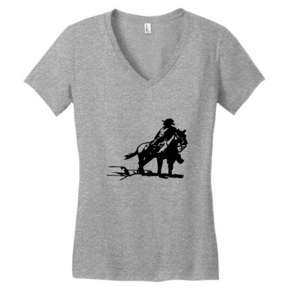Cowboy Style On A Horse Women's V-neck T-shirt Designed By Acoy