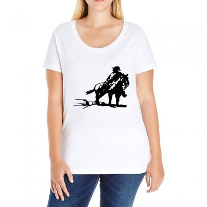 Cowboy Style On A Horse Ladies Curvy T-shirt Designed By Acoy