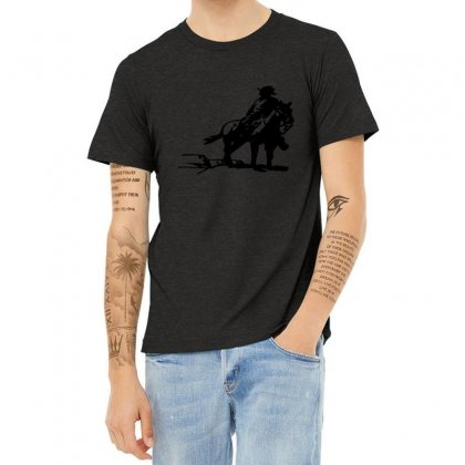 Cowboy Style On A Horse Heather T-shirt Designed By Acoy