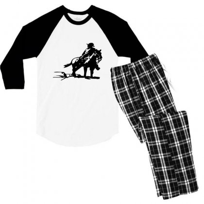 Cowboy Style On A Horse Men's 3/4 Sleeve Pajama Set Designed By Acoy