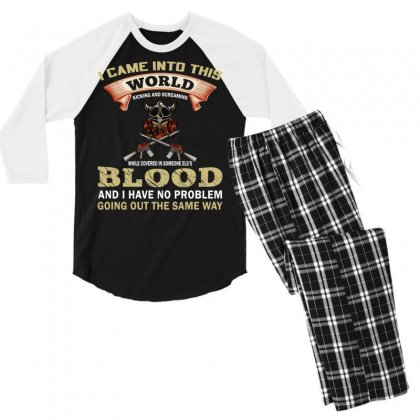 I Came Into This World (gun T Shirt) Design Png Men's 3/4 Sleeve Pajama Set Designed By #t-shirt Designer Safiul Islam
