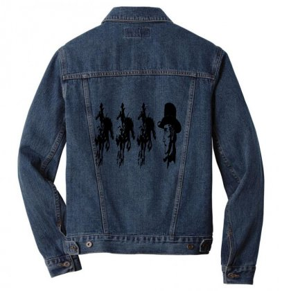 Three Cowboys  And Cowboys Faces Men Denim Jacket Designed By Acoy