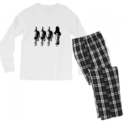 Three Cowboys  And Cowboys Faces Men's Long Sleeve Pajama Set Designed By Acoy