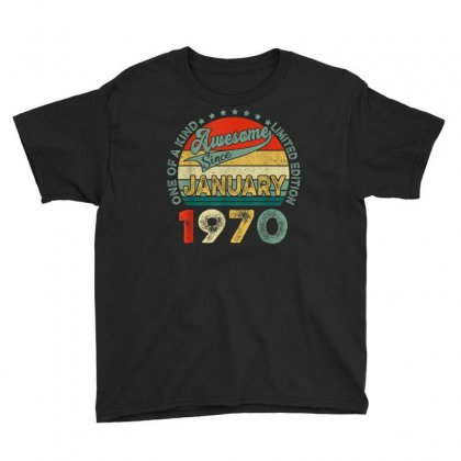 Vintage Awesome Since January 1970 50th Bday 50 Years Old T Shirt Youth Tee Designed By Cuser1744